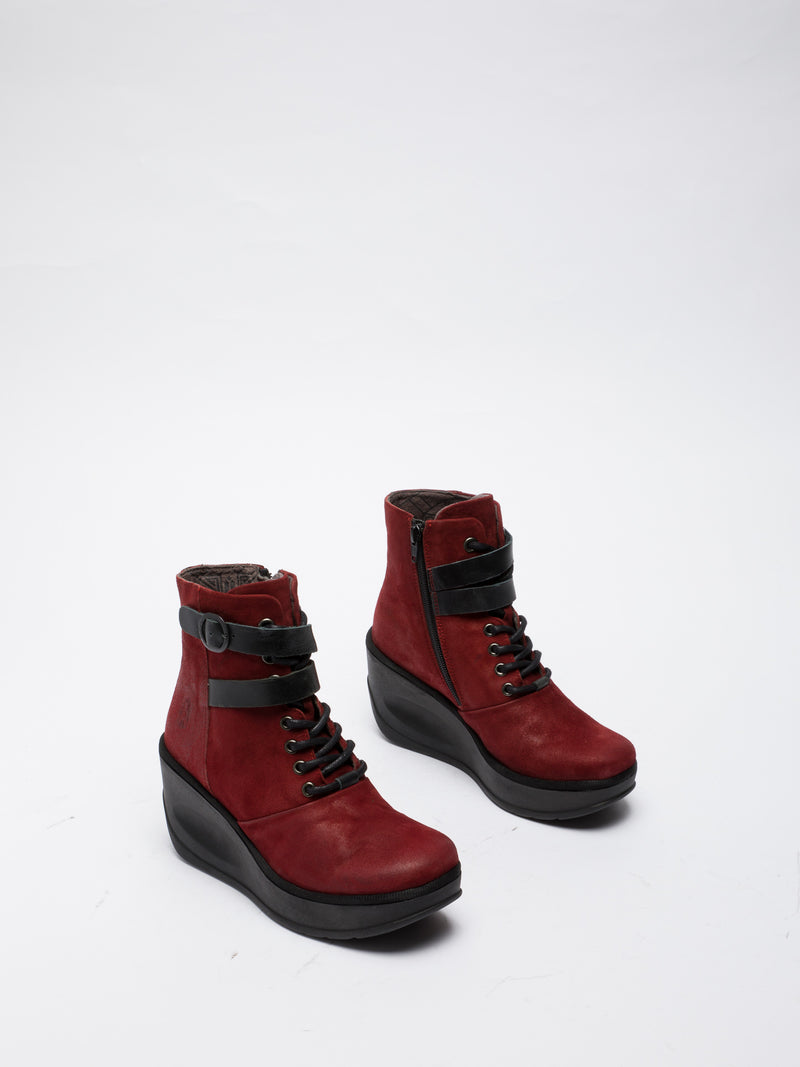 Red Lace-up Ankle Boots