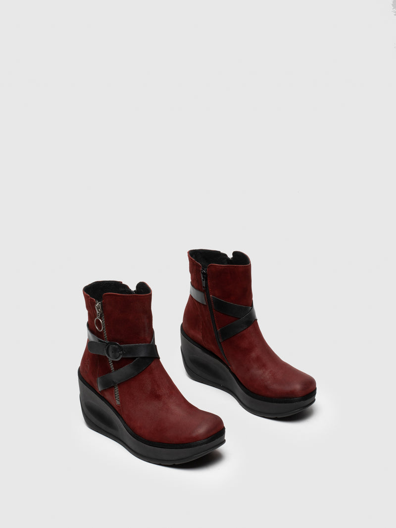Red Zip Up Ankle Boots
