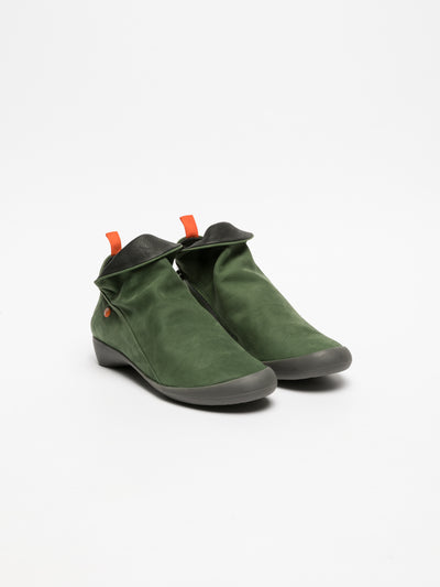 SOFTINOS Green Zip Up Ankle Boots