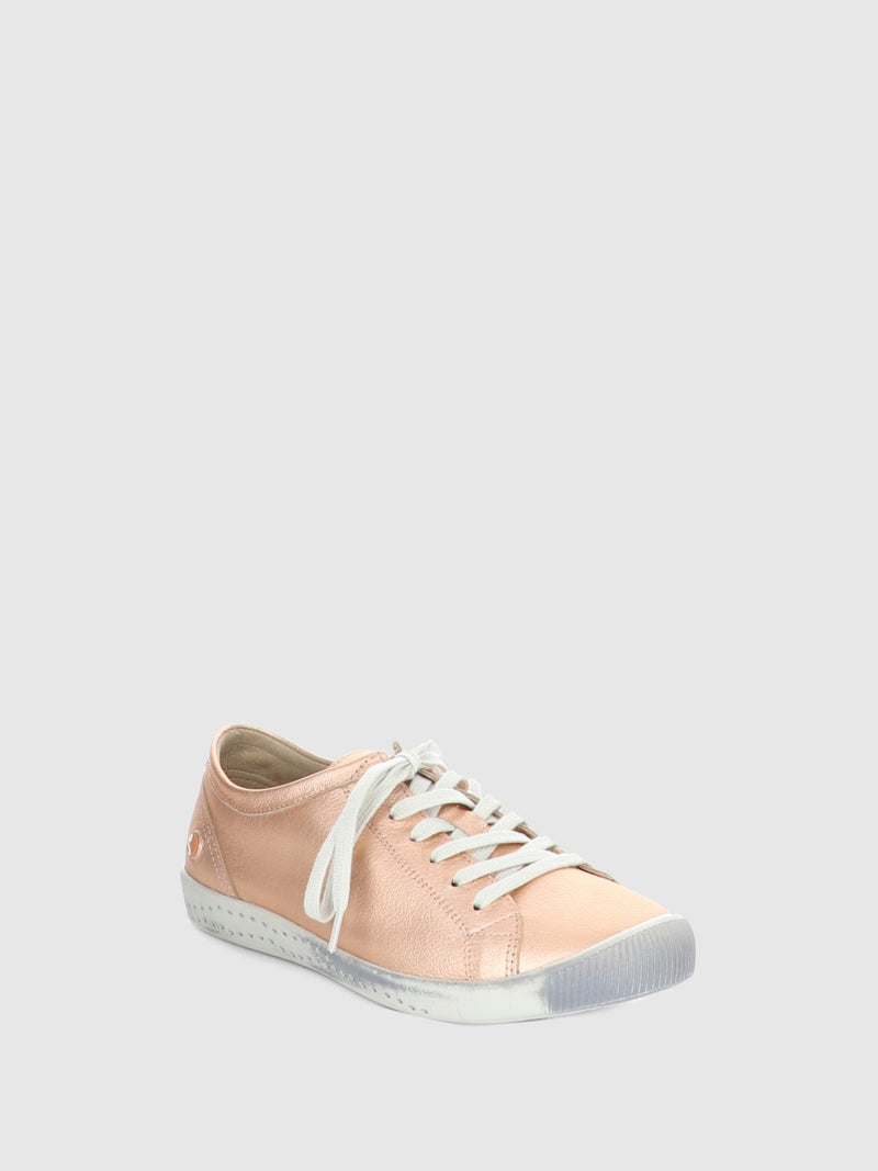 Softinos RoseGold Lace-up Trainers
