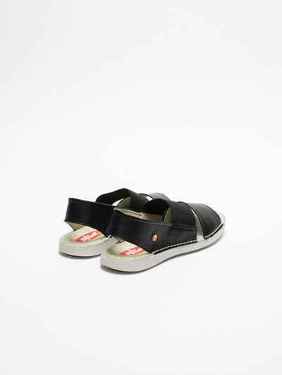 SOFTINOS Black Sling-Back Sandals