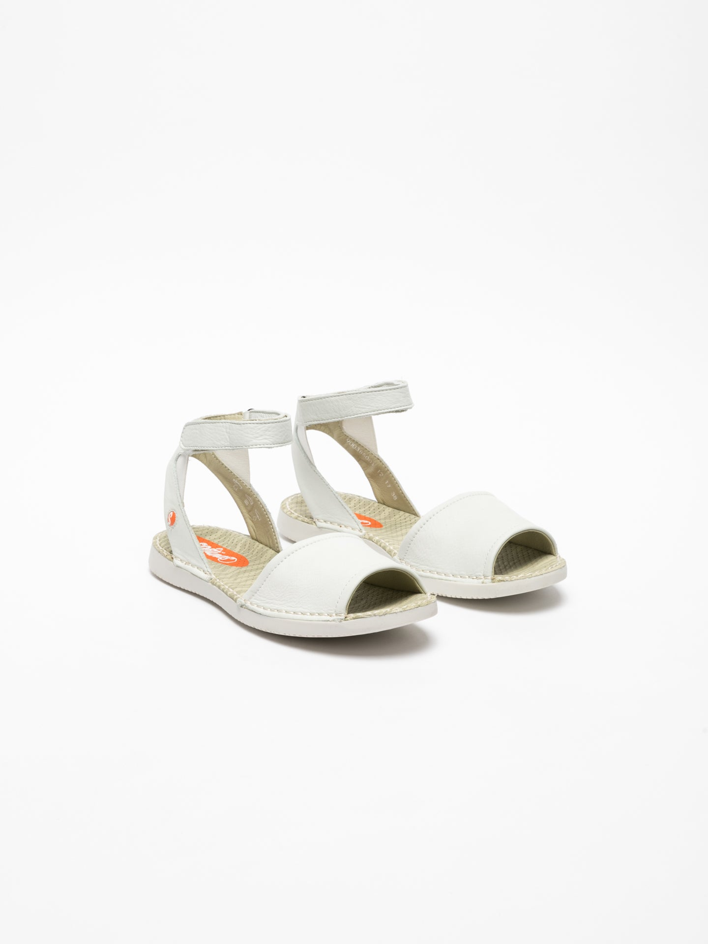 Softinos White Ankle Strap Sandals
