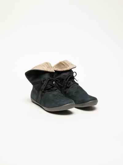SOFTINOS Navy Fluff Ankle Boots