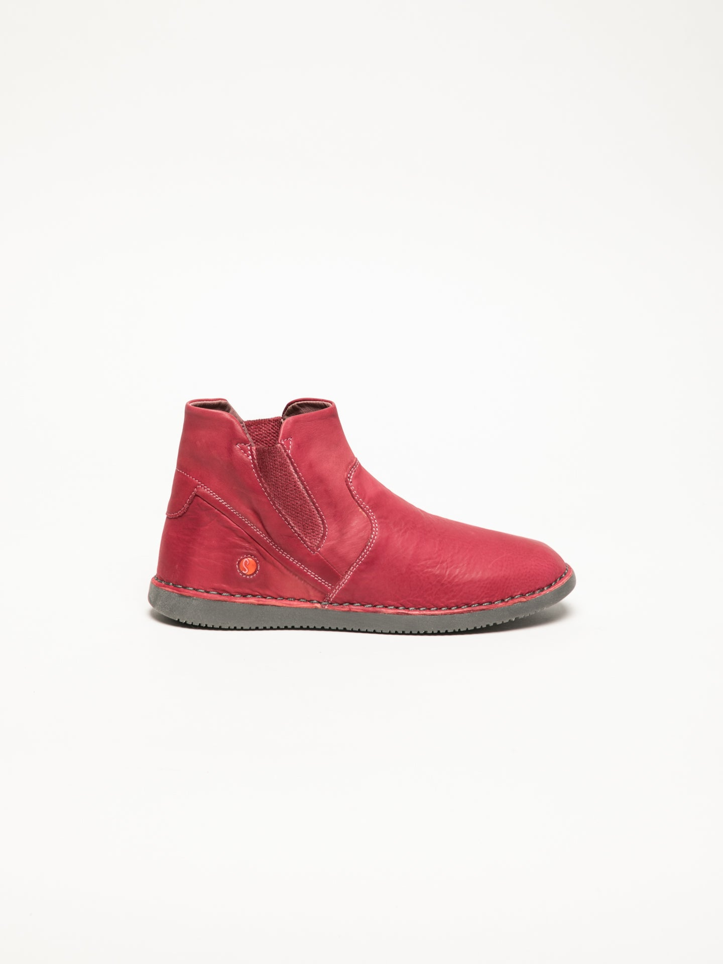 Softinos Red Round Toe Ankle Boots