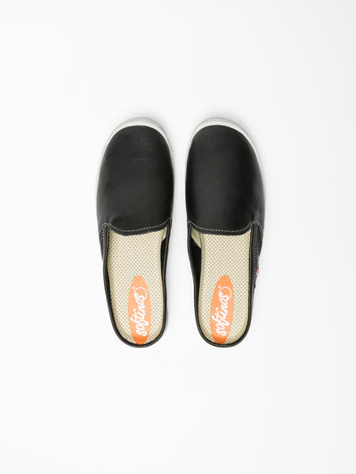 SOFTINOS Black Round Toe Mules