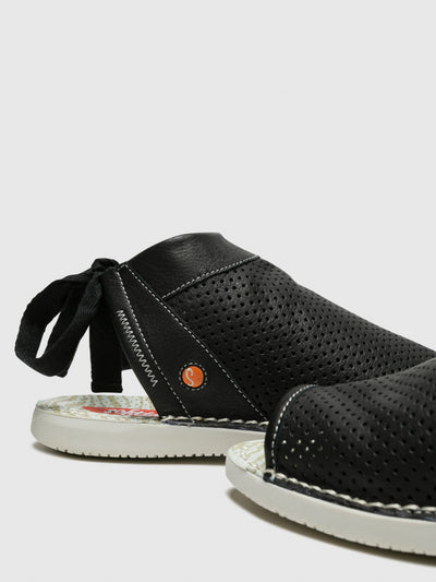 SOFTINOS Black Flat Sandals