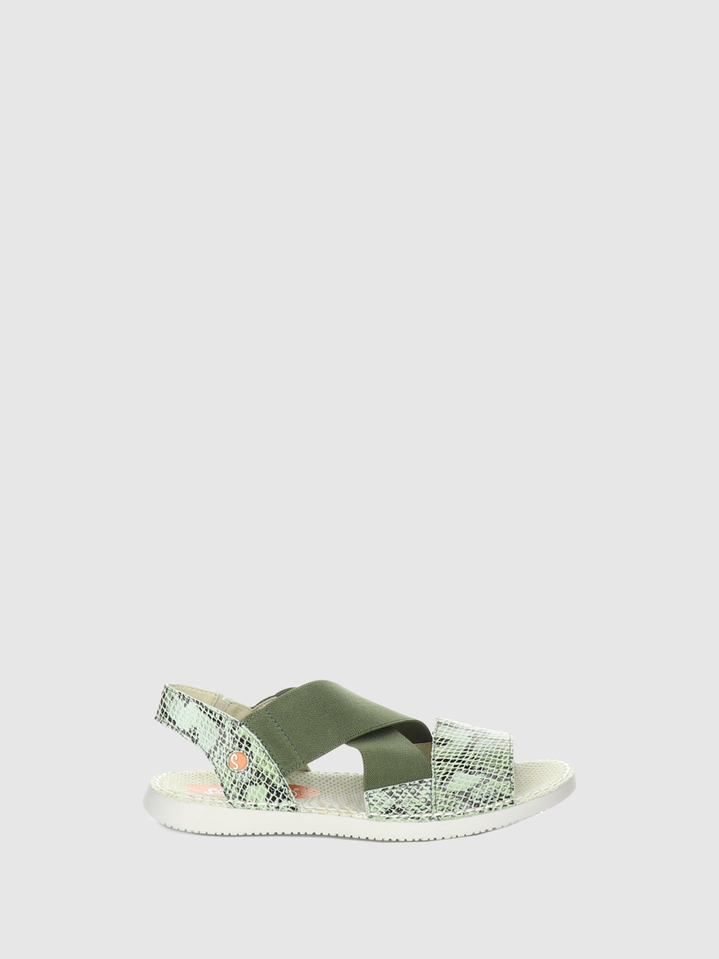 SOFTINOS Green Sling-Back Sandals