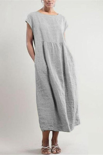 Casual Linen Solid Crew Neck Midi Dress