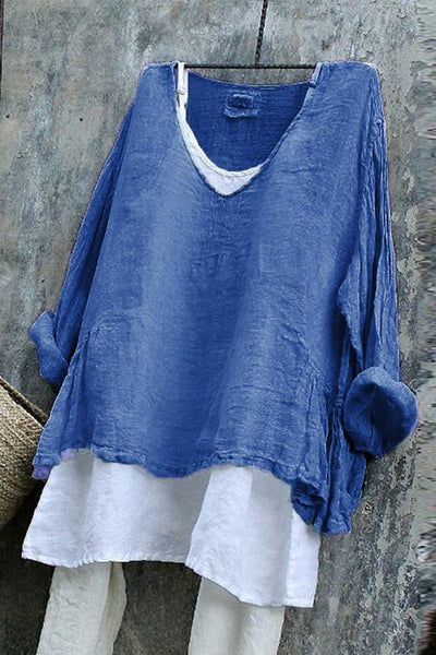 Solid V Neck Two Pieces Linen T-shirts