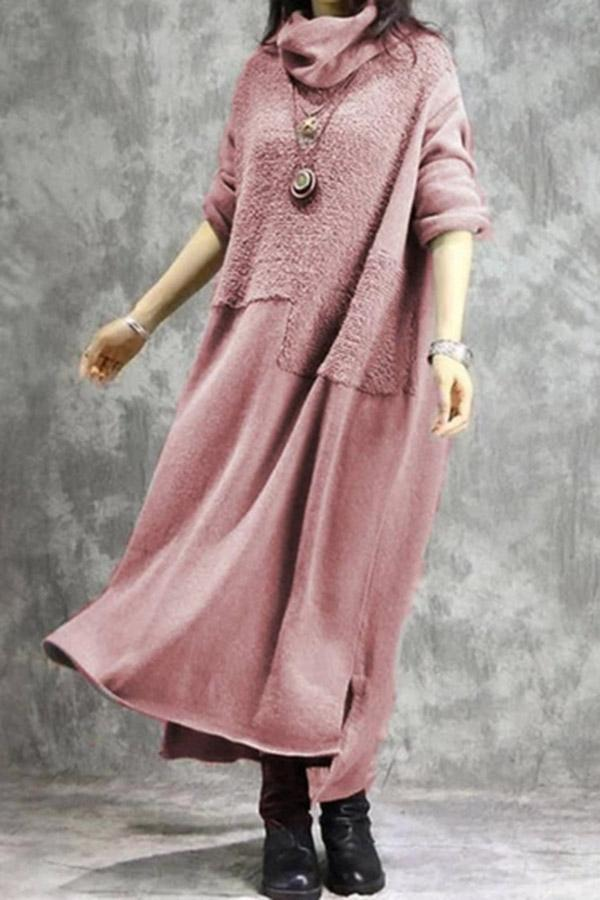 Solid Cowl Neck Long Sleeve Sweater Dress