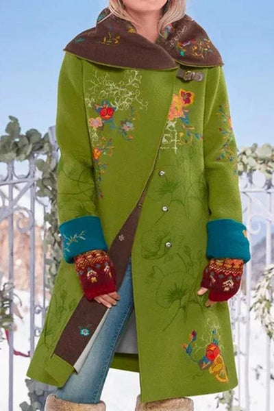 Floral Print Buckle Lapel Long Sleeves Casual Coat