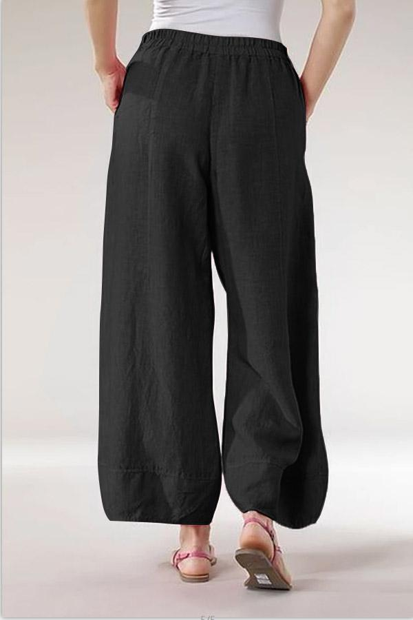 Zipper Linen Side Pockets Casual Pants