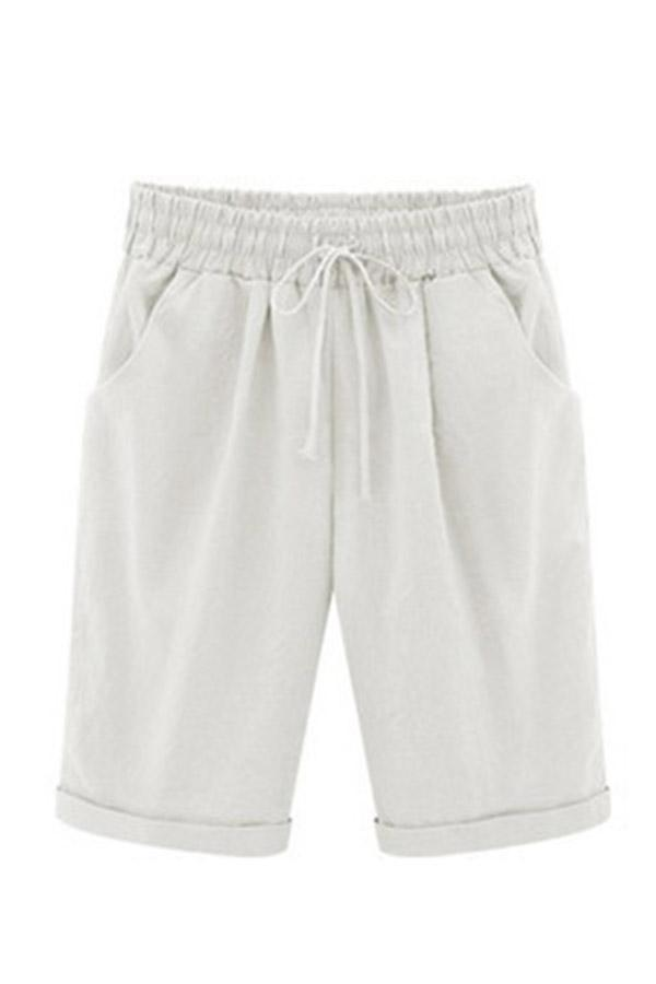 Gathered Self-tie Casual Short Pants