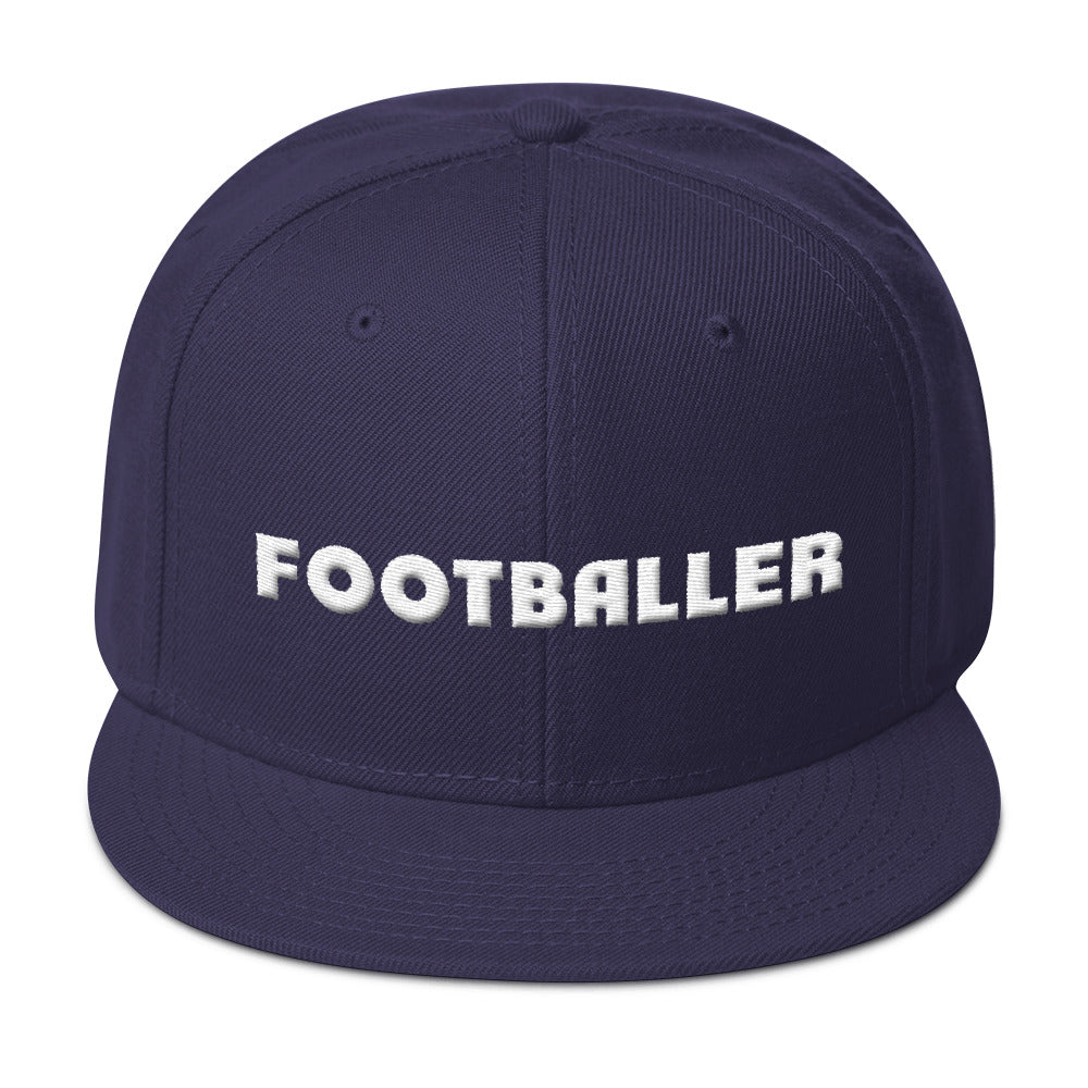 Footballer Puff Embroidery Snapback Hat