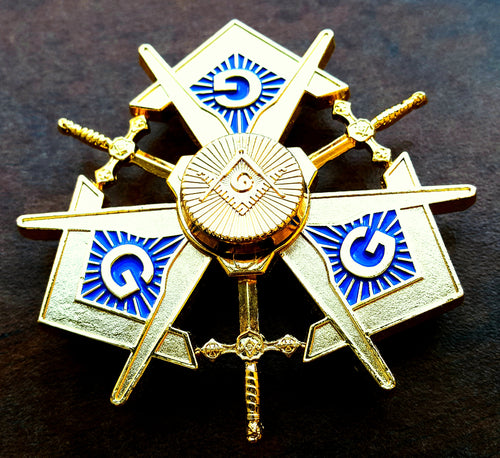 MASONIC METAL SPINNER ! A NEW SPIN ON MASONRY in BRIGHT GOLD FINISH (MMS-BG)
