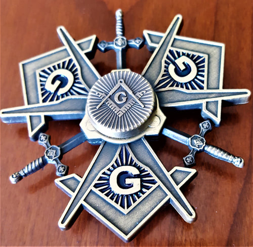 MASONIC METAL SPINNER ! A NEW SPIN ON MASONRY in ANTIQUE BRONZE FINISH (MMS-AB)