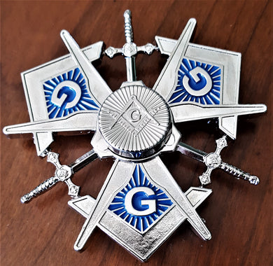MASONIC METAL SPINNER ! A NEW SPIN ON MASONRY in BRIGHT SILVER FINISH (MMS-BS)