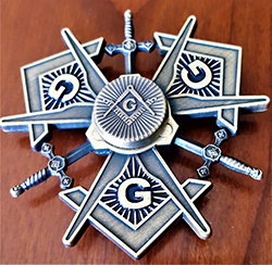MASONIC METAL SPINNER ! A NEW SPIN ON MASONRY in ANTIQUE SILVER FINISH (MMS-AS)