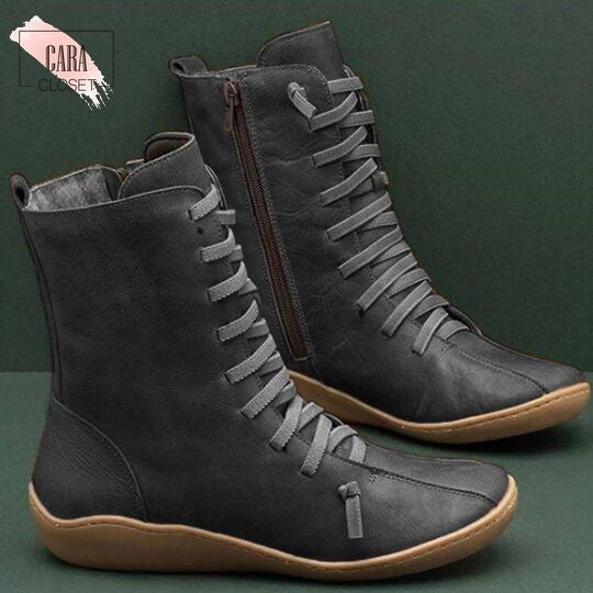 CARA CHIC - Vintage Zipper Lace Up Ankle Boots