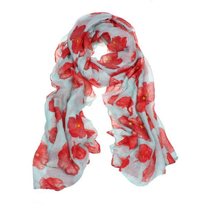 Red Poppy Scarf Print Long Scarves Flower