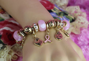 CARA GEMS - Breast Cancer Awareness Charm Bracelet