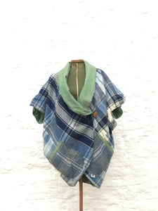 Lined Cocoon Coat | Blue/Green