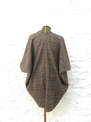 Tweed Cocoon Coat | Brown tartan
