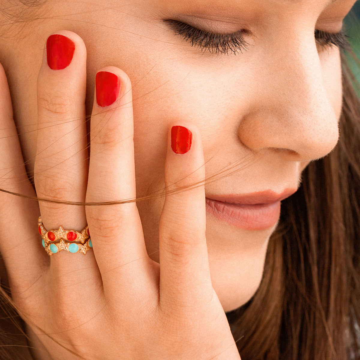 Rings - Ring - Enameled Cabochon Turquoise Dots and Starfishes - 2   Rue des Mille