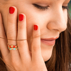 Rings - Ring - Enameled Cabochon Turquoise Dots and Starfishes - thumbnail - 2   Rue des Mille