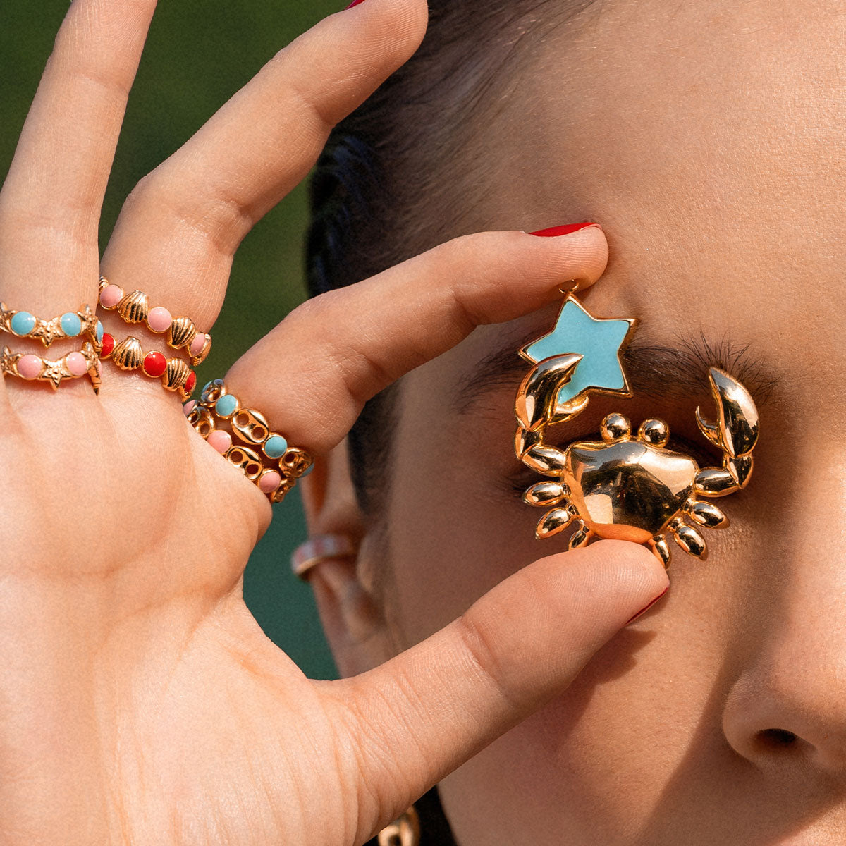 Rings - Ring - Enameled Cabochon Pink Dots and Shells - 2   Rue des Mille