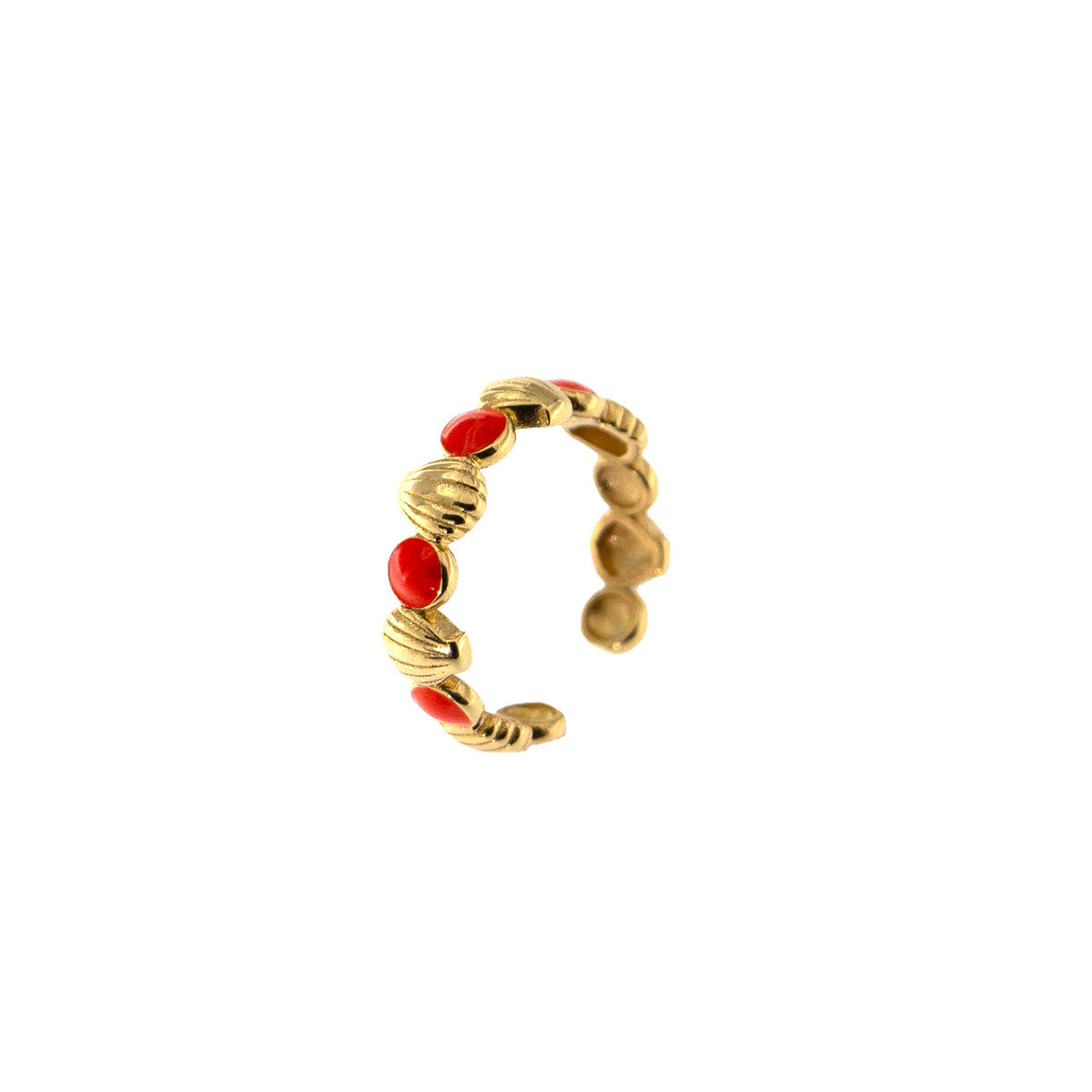 Rings - Ring - Enameled Cabochon Coral Dots and Shells - 1 | Rue des Mille