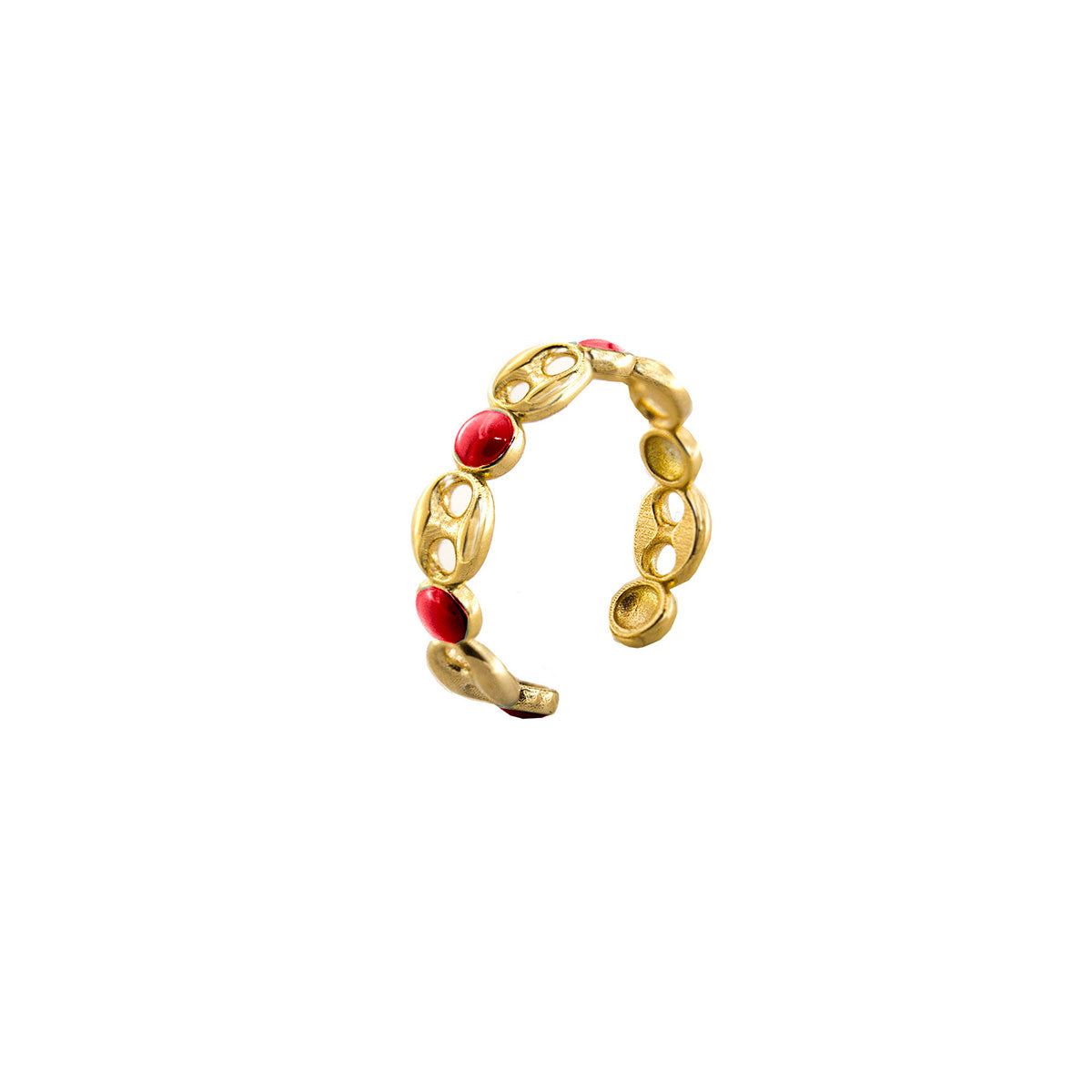 Rings - Ring - Enameled Cabochon Coral Dots and Marine Link - 1 | Rue des Mille