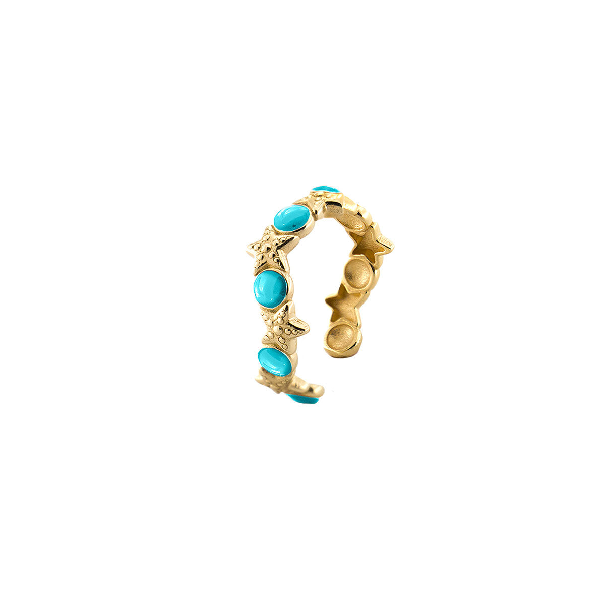 Rings - Ring - Enameled Cabochon Turquoise Dots and Starfishes - 1   Rue des Mille