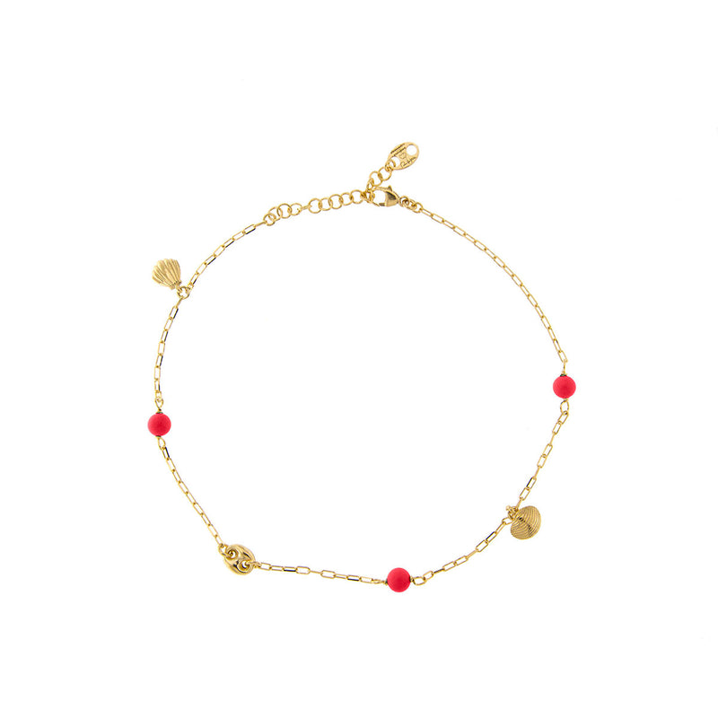 Anklet - Coral  details and Shell Charms