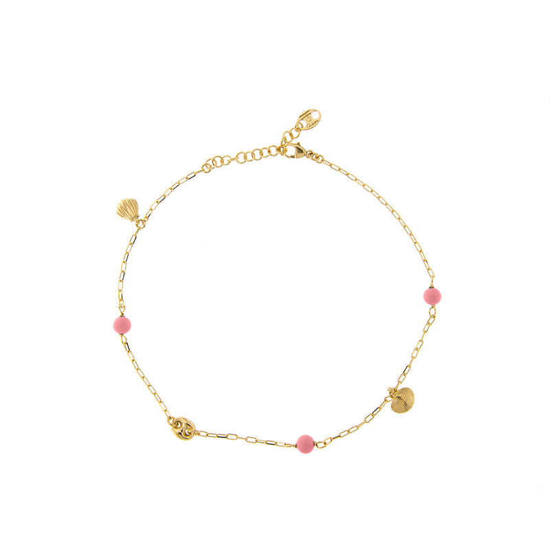Anklet - Pink  details and Shell Charms