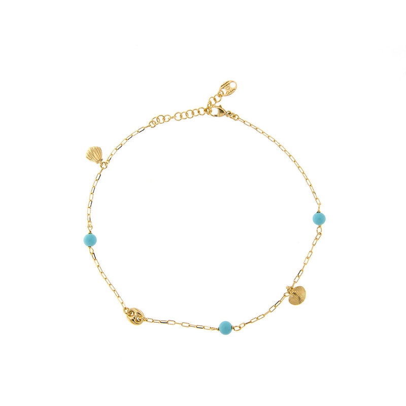 Anklet - Turquoise details and Shell Charms