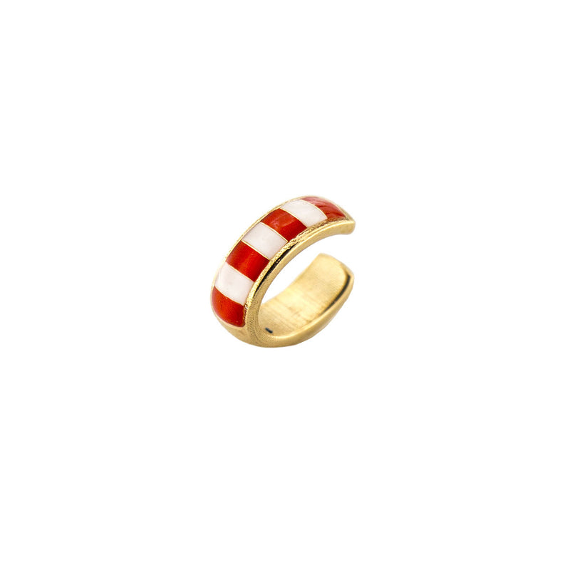 Earcuff enameled with coral stripes