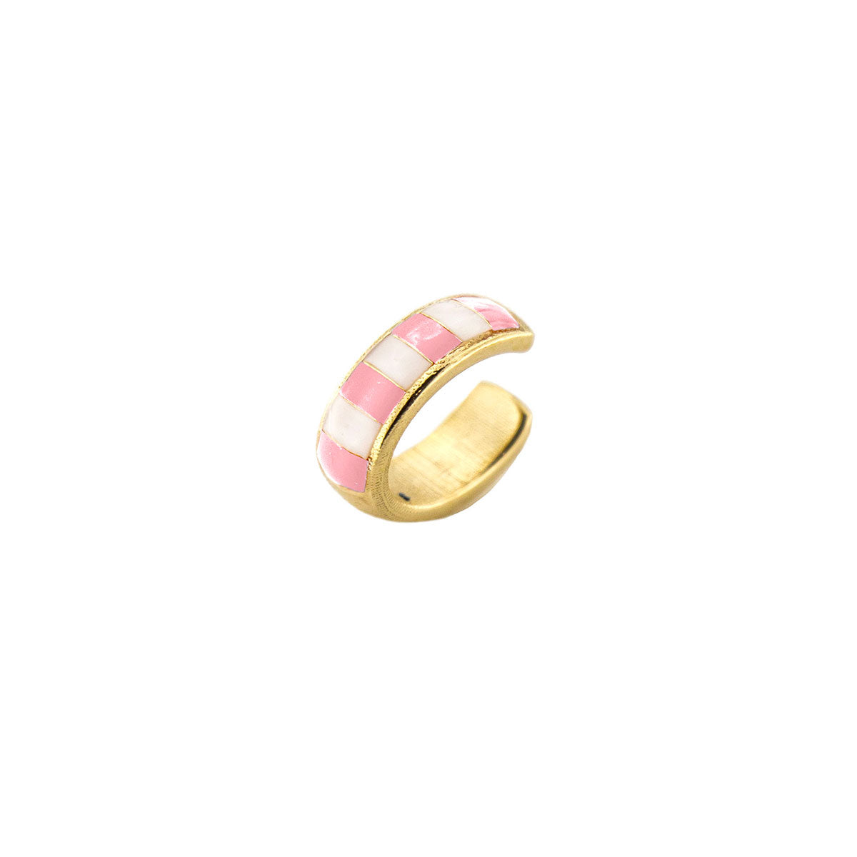 Earcuff enameled with pink stripes