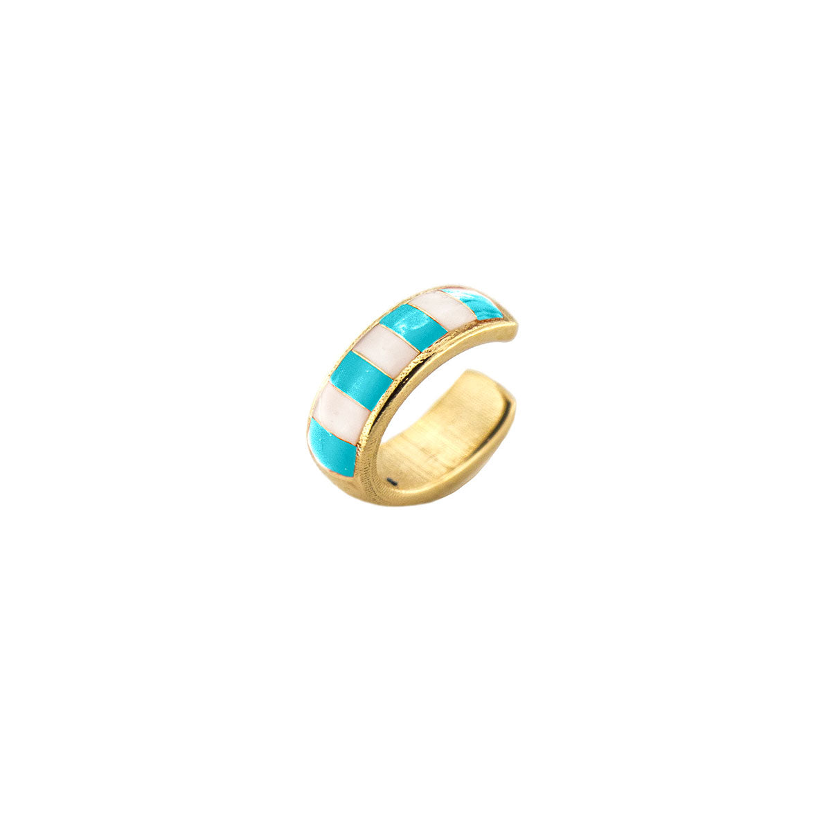 Earcuff enameled with turquoise stripes