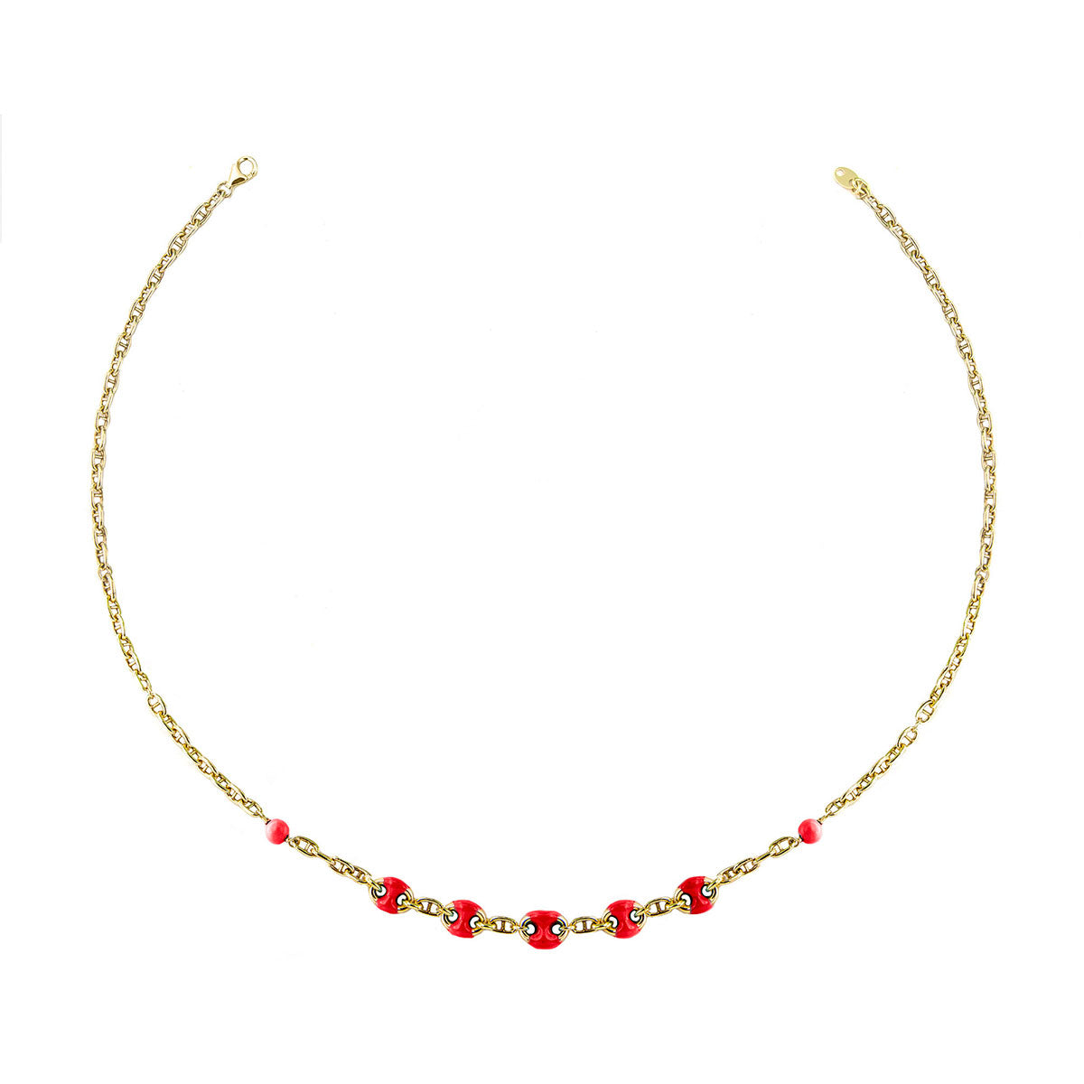 Chokers - Choker - Enameled Coral  Marine Link - 1 | Rue des Mille