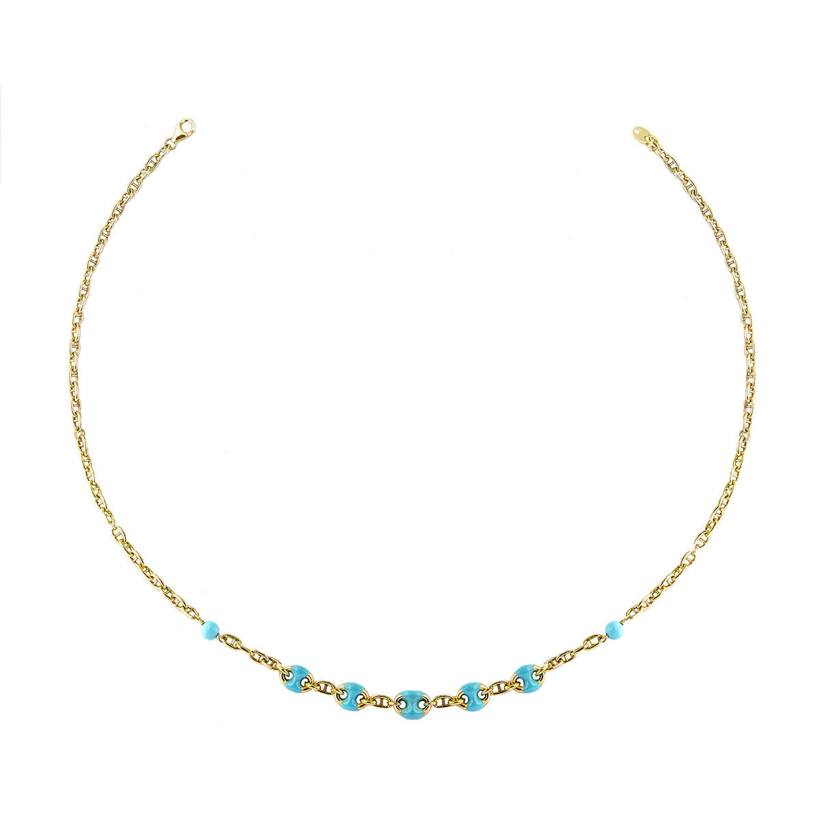 Chokers - Choker - Enameled Turquoise  Marine Link - 1 | Rue des Mille
