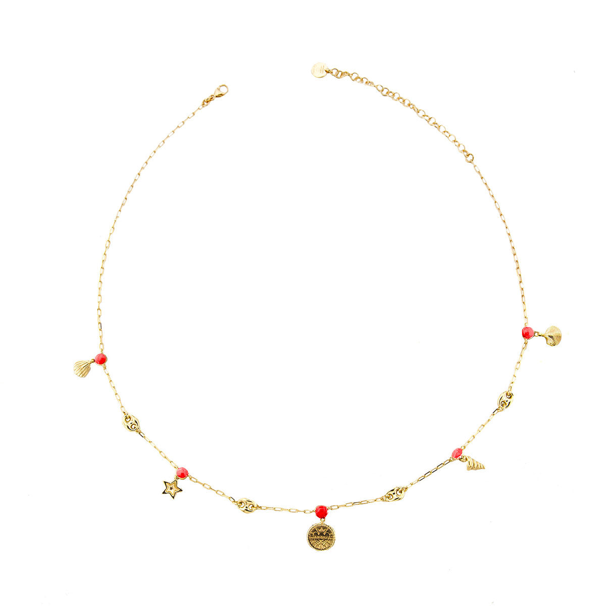 Choker - Shell Charms and Coral details