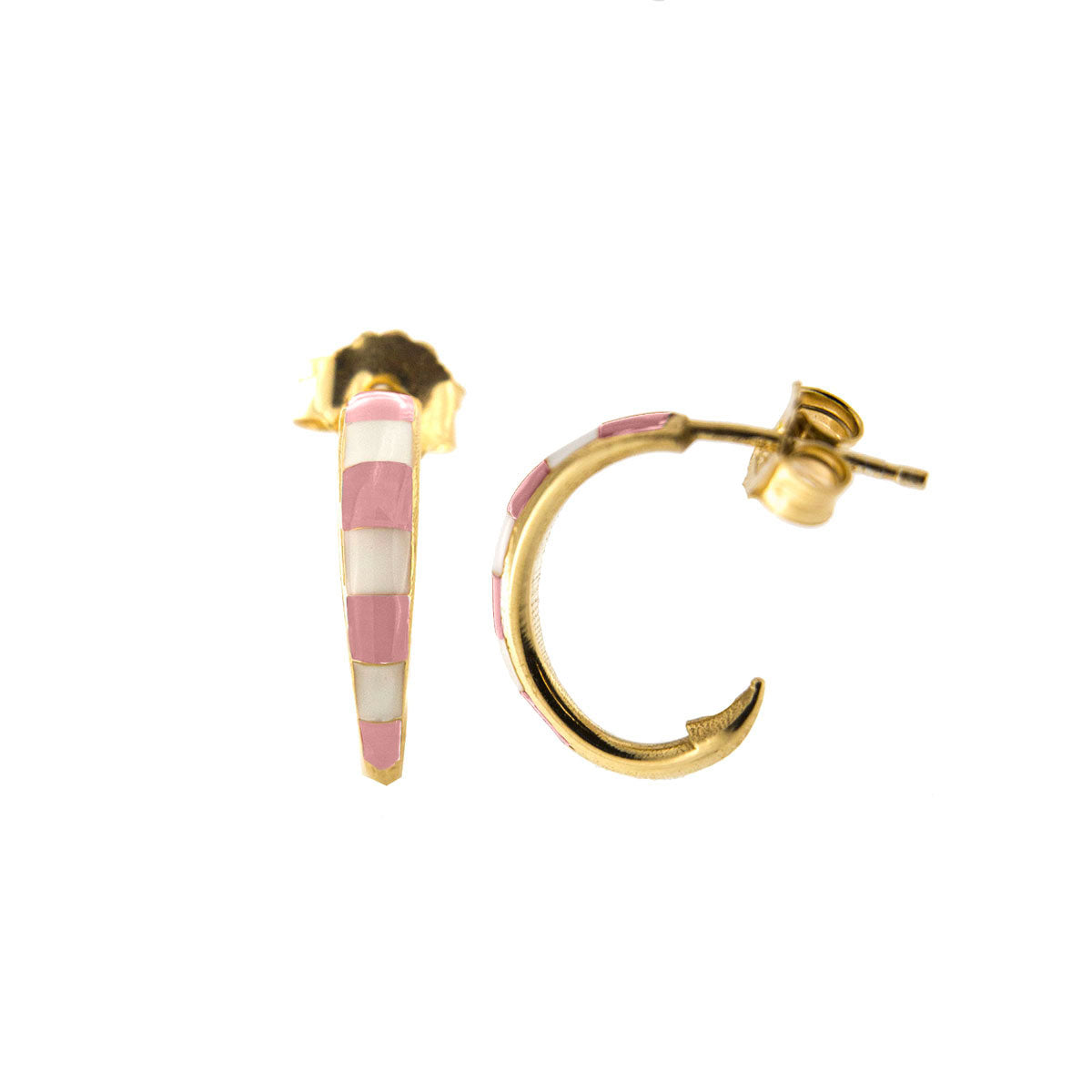Earrings - Single earring -  Enameled circle with pink stripes - 1   Rue des Mille