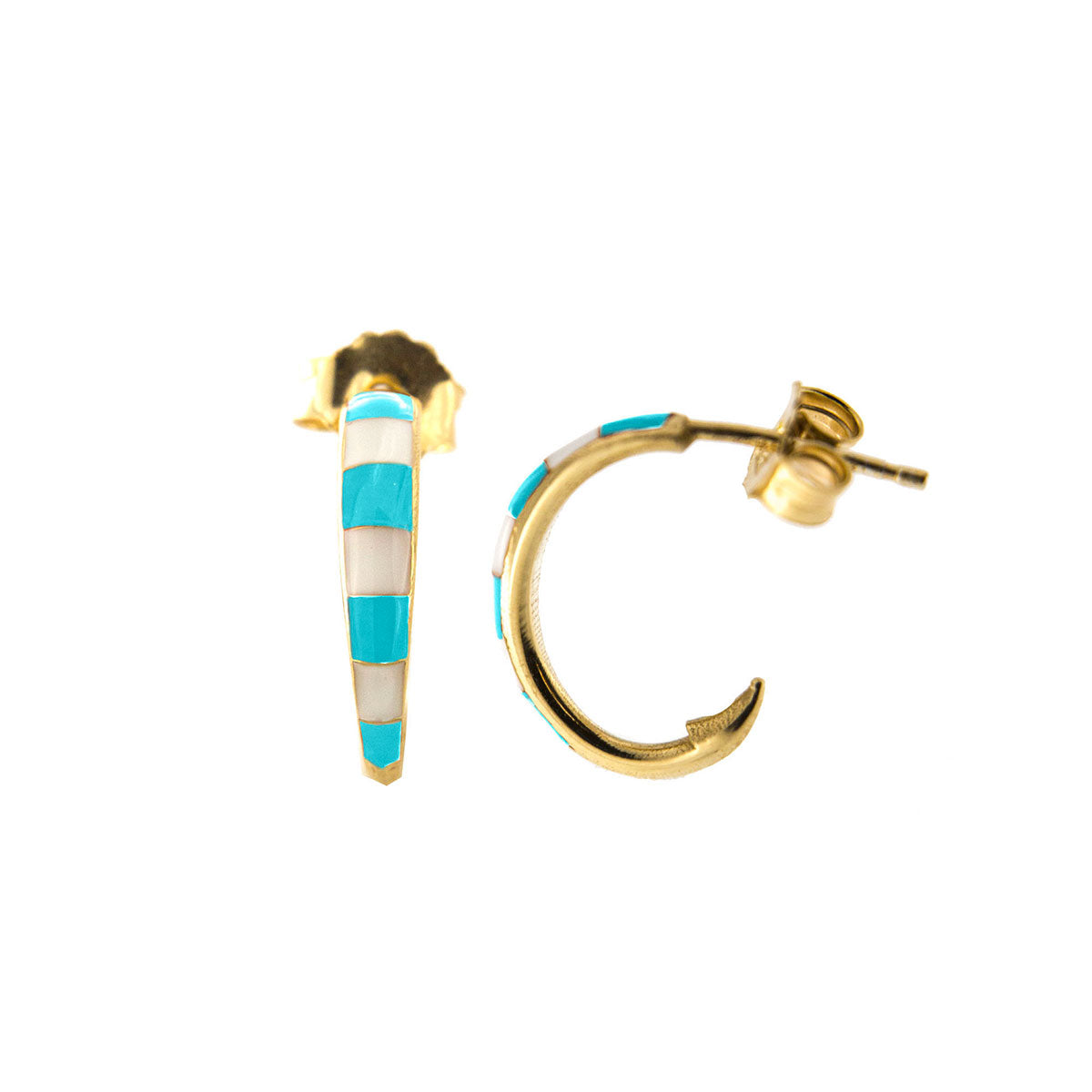 Earrings - Single earring -  Enameled circle with turquoise stripes - 1   Rue des Mille