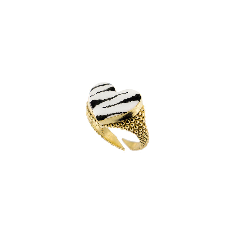 Chevalier Heart Ring - Zebra Print