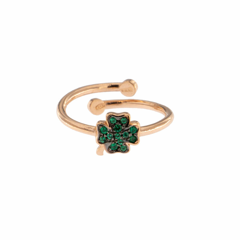 Zirconia Four-leaf Clover Ring