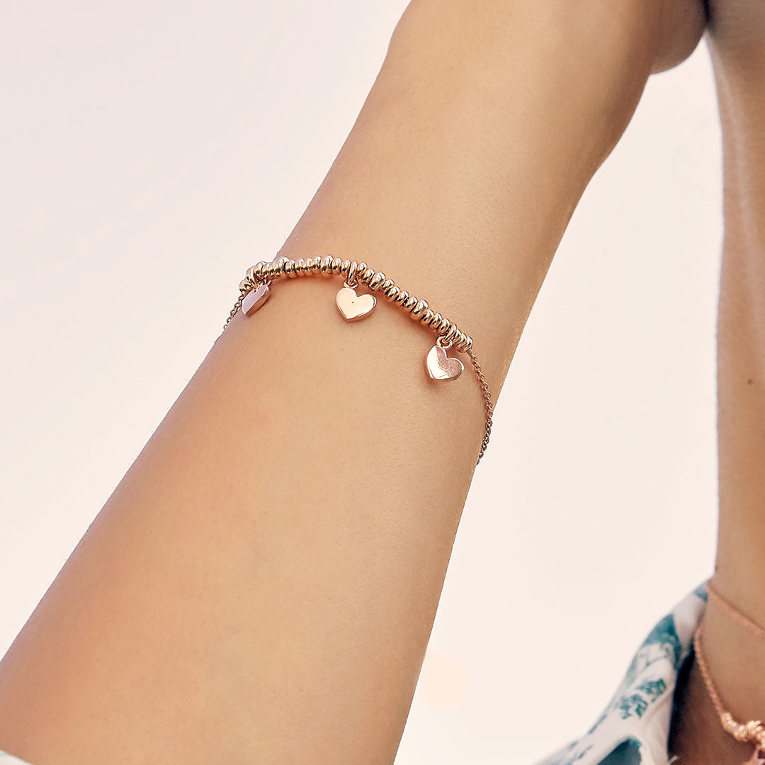 Bracelets - Bracelet with Three Hearts and micro circles - 2   Rue des Mille
