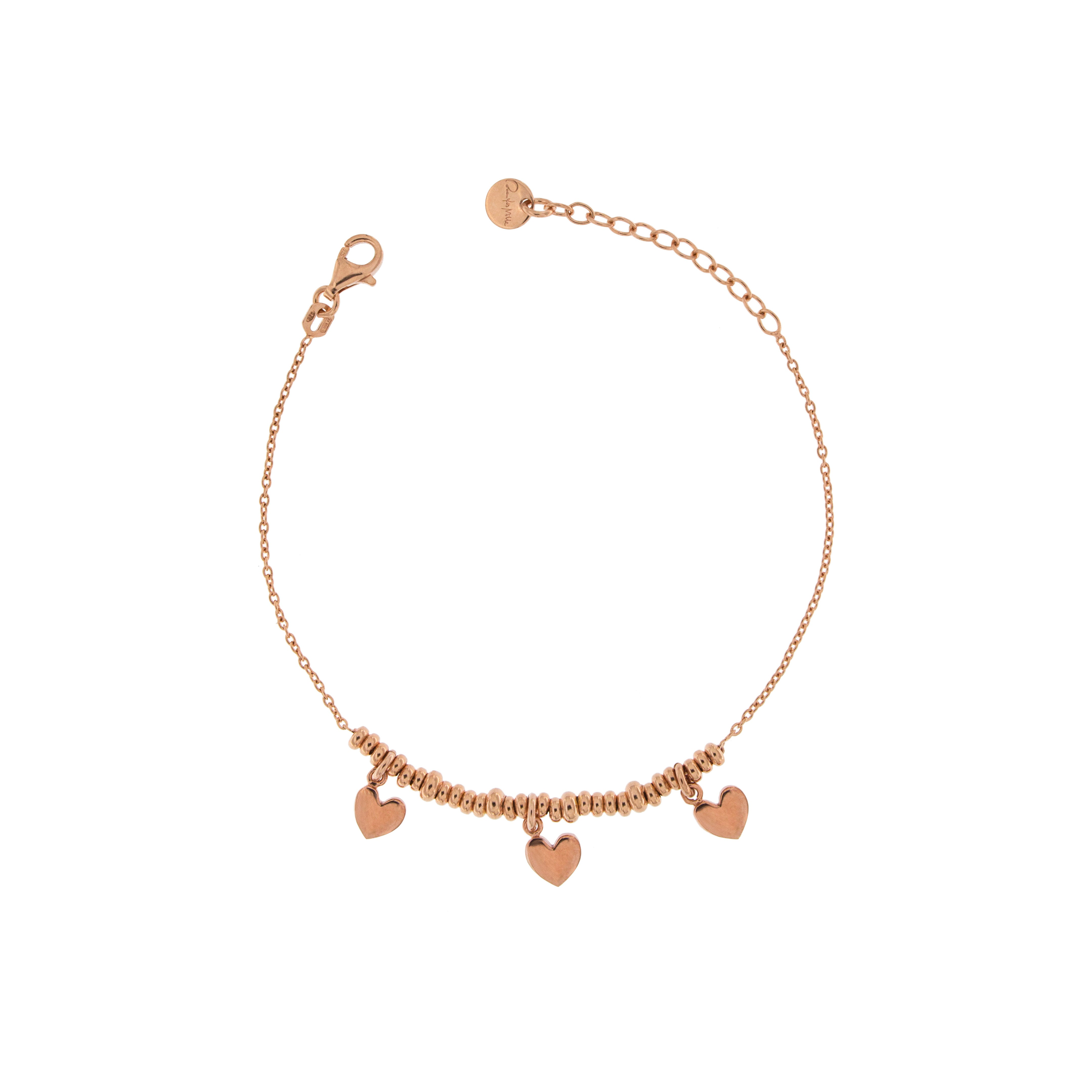 Bracelets - Bracelet with Three Hearts and micro circles - 1   Rue des Mille
