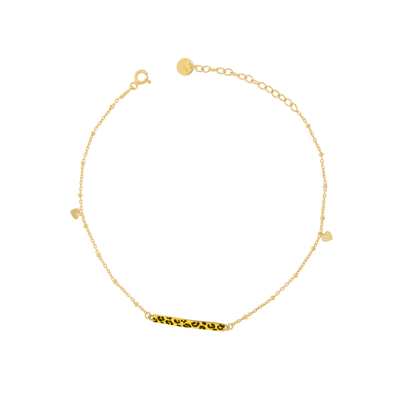 Anklet with Central Bar and Hearts - Leopard Print