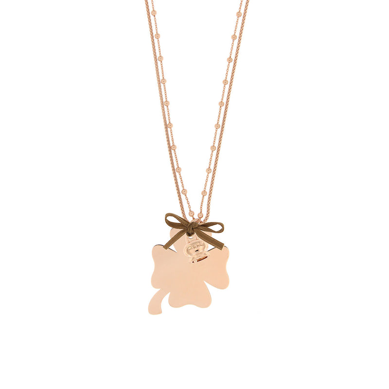 Double Chain Necklace with Clover